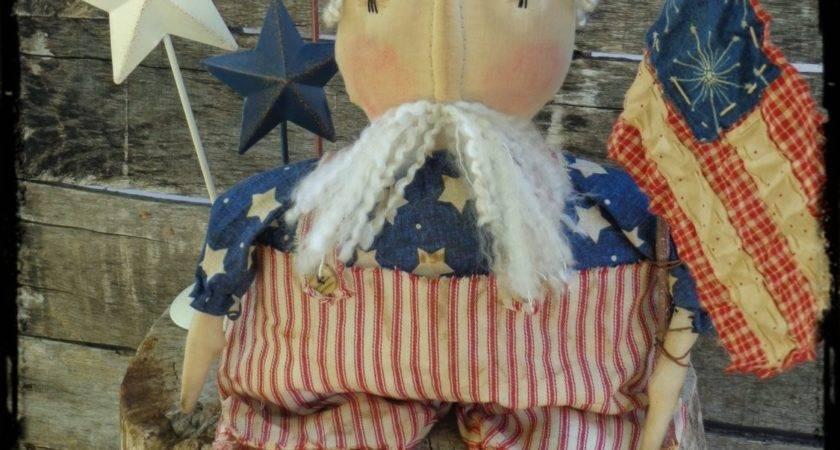 Primitive Uncle Sam Folk Art Rag Doll Patriotic Americana