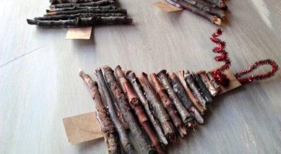 Rustic Twig Cardboard Christmas Tree Ornaments