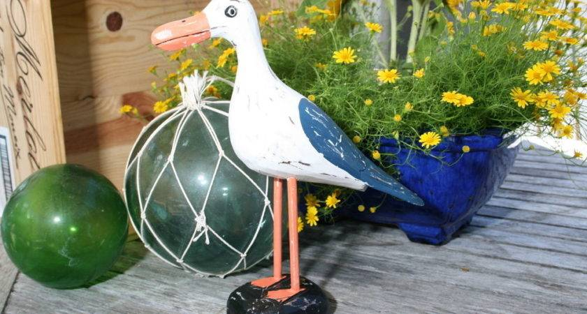 Seagull Bird Rustic Blue Coastal Garden Home