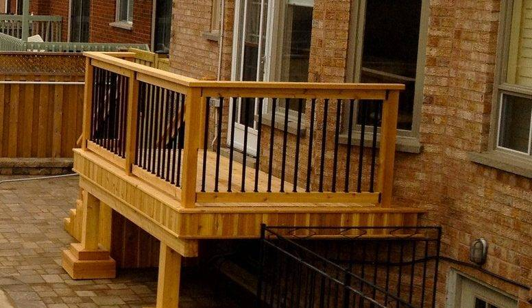 Small Cedar Deck Wrought Iron Railings