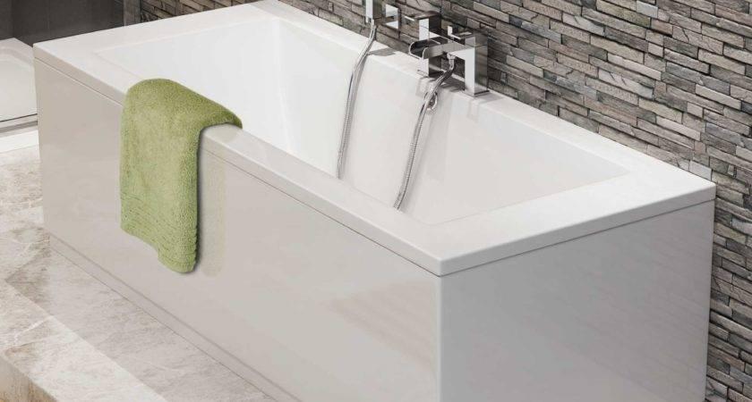Square Double End Straight Bath White Modern