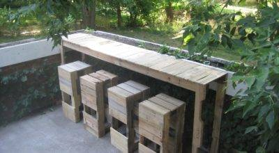 Stacked Design Pallet Bar Table