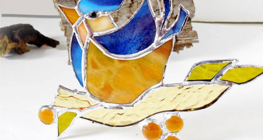 Stained Glass Bird Happy Blue Home Decor