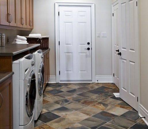 Stone Tile Basement Laundry Room Flooring Ideas