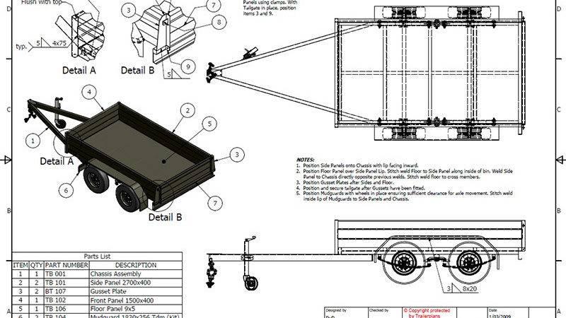 Tandem Box Trailer Plan Plans Designs Drawings