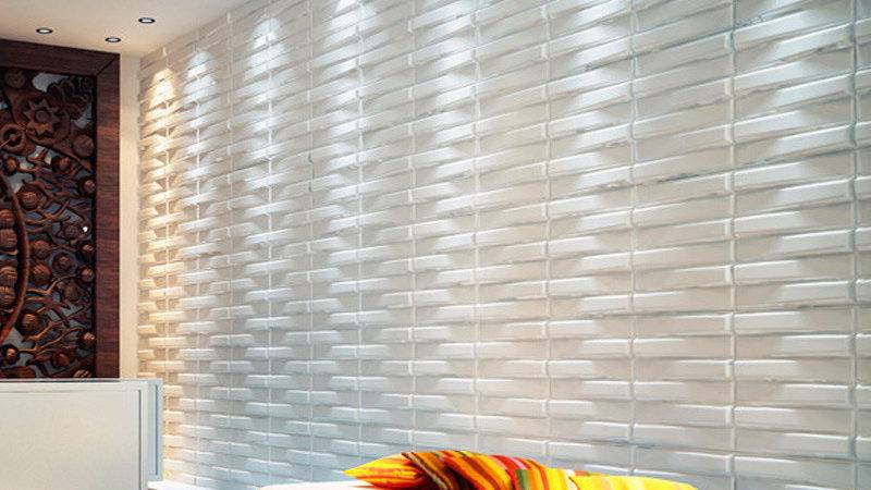 Three Wall Panels Wave Paintable Paneling White