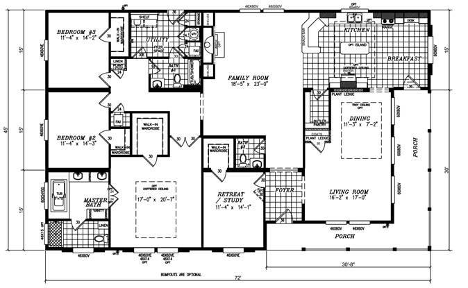Triple Wide Mobile Home Floor Plans New Quadruple