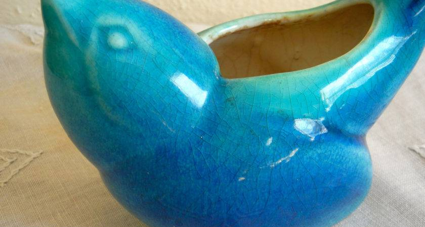 Vintage Blue Bird Planter Haeger Art Pottery Home Decor