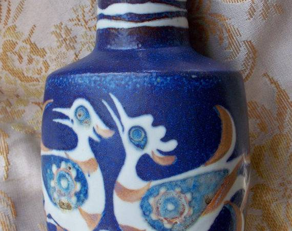 Vintage Home Decor Blue Bird Pillow Vase Royal