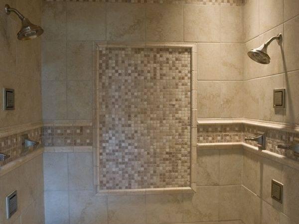 Walk Tile Shower Accents Pebble Floor Two