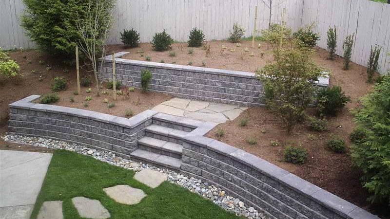 Walls Cinder Block Retaining Wall Green Grass