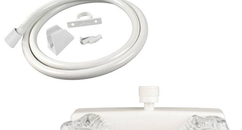 White Mobile Home Shower Faucet Clear Handles