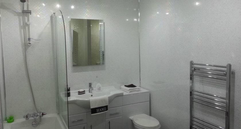 White Sparkle Gloss Plastic Cladding Panels Bathroom