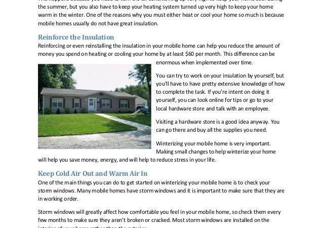 Winterize Your Mobile Home