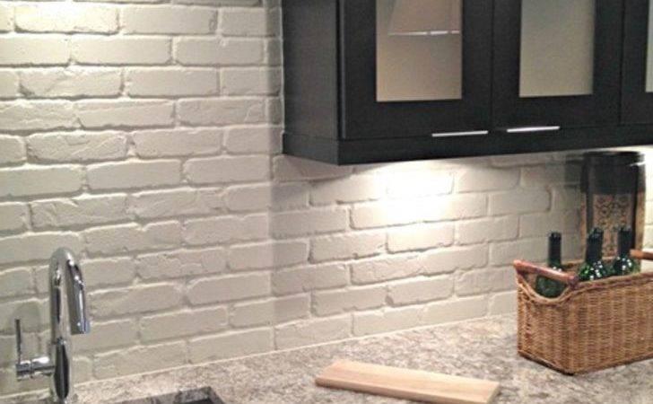 Wood Kitchen Backsplash Faux Ideas Painted Brick