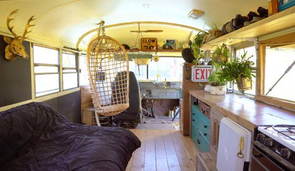 Young Man Builds Epic School Bus Tiny House Only